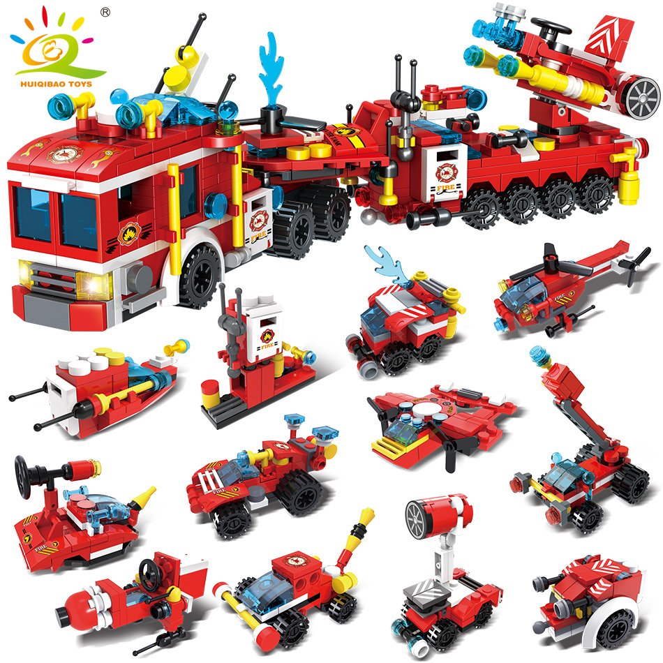 670pcs 12in1 Fire Fighting Trucks set Building Blocks Compatible legoing City helicopter Firefighter figures Toys For Children670pcs 12in1 Fire Fighting Trucks set Building Blocks Compatible legoing City helicopter Firefighter figures Toys For Children