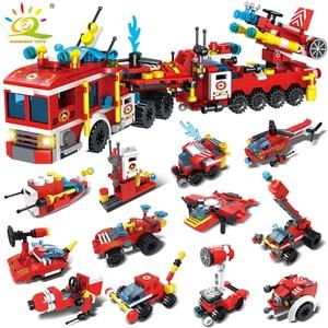 HUIQIBAO 670pcs 12in1 Fire Fighting Trucks Building Blocks City Firefight Helicopter Car Boat Model Bricks Kit Toys For Children