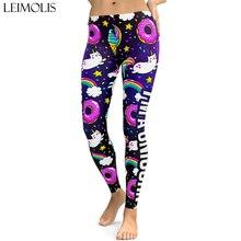 LEIMOLIS 3D printed fitness push up workout leggings women Cartoon universe Unicorn plus size High Waist punk rock panties