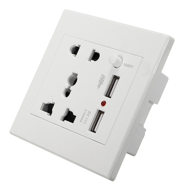 13a Universal Plug Uk Standard White Wall Electrical Faceplate Socket Double 2 Usb Outlets Ports Switch