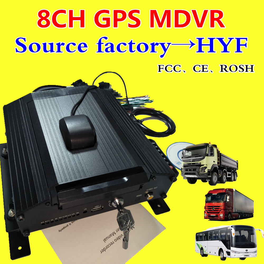 8 ch dur disque véhicule DVR GPS positionnement AHD 720 P MDVR H.264 large tension hôte de surveillance usine directe vente