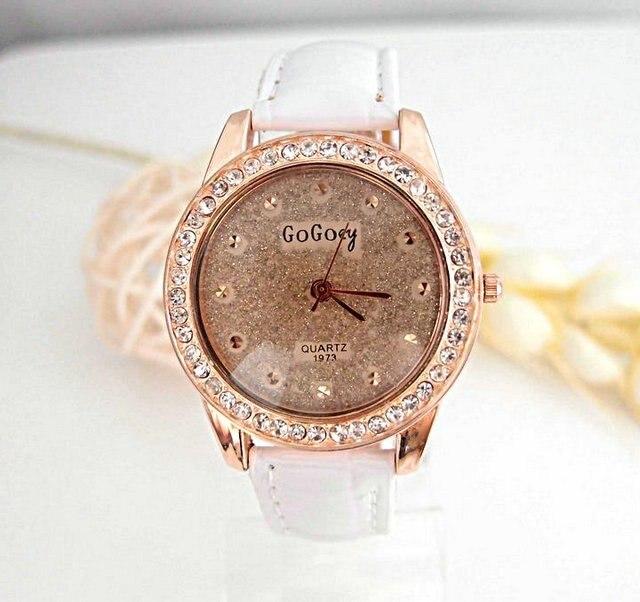 Hot Sales Womens Watch Crystal Analog Quartz Wristwatch Rhinestone Lady Dress Leather Reloj Relogio go010