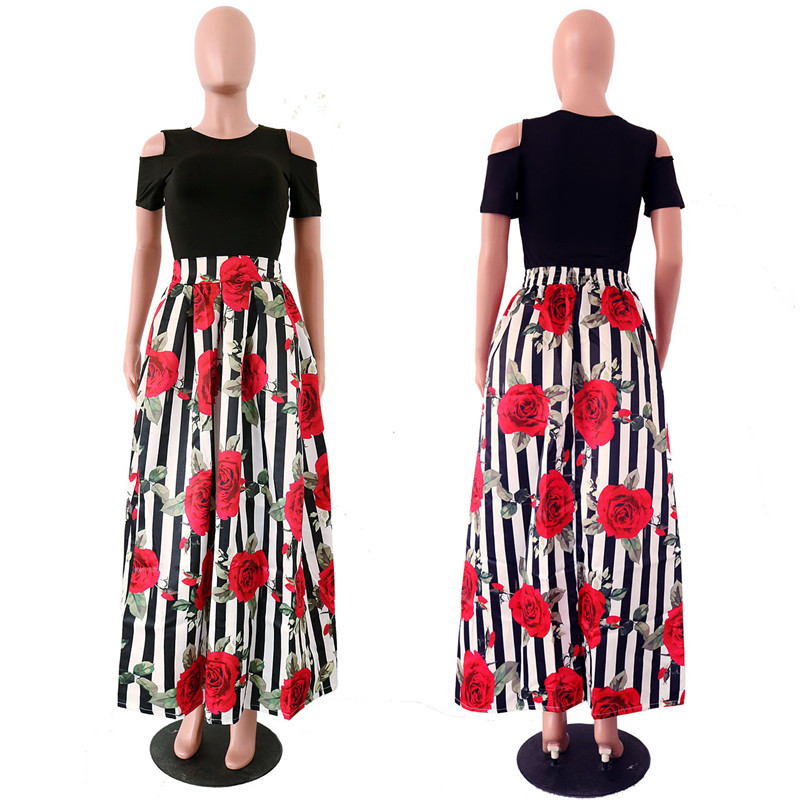 cd536a78ff US $20.28 10% OFF|Plus Size Maxi Dresses Women Traditional African Clothing  Fashion Print Cold Shoulder Long Party Dress Summer Two Piece Dress-in ...