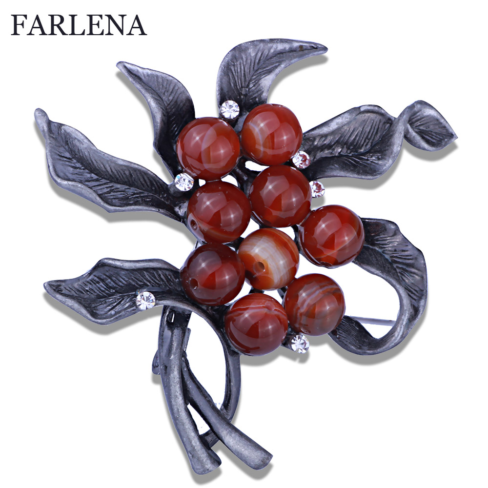 Retro Style Metal Brooches & Pins Natural stone  and Simulated Pearl Brooch For Women Vintage Scarf Clip Jewelry Accessories