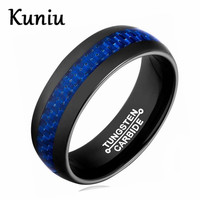 Fashion Blue Carbon Fiber Tungsten Steel Ring 8mm Width Tungsten Carbide Rings For Men Jewelry