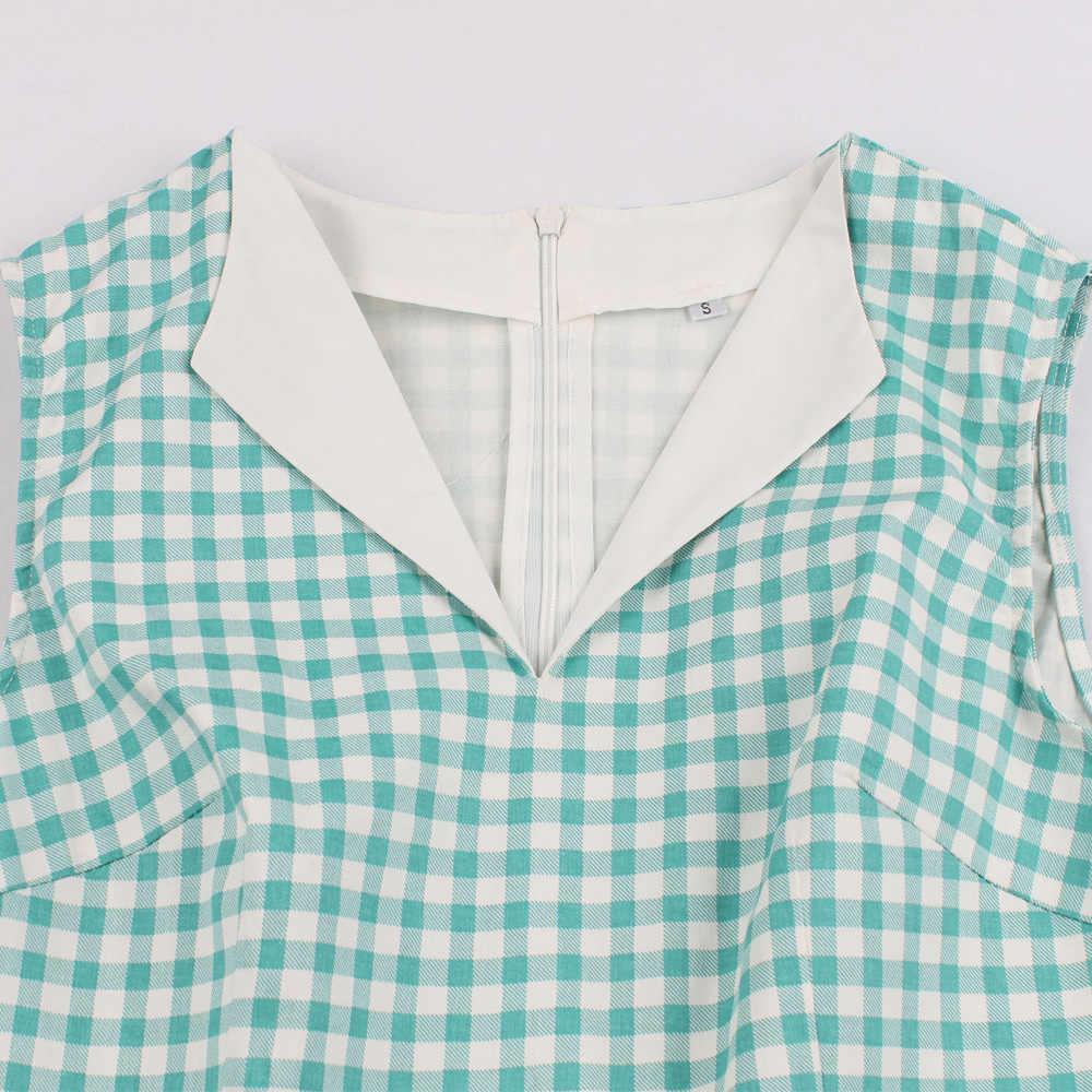Hepburn винтажное платье женское зеленое клетчатое платье в клетку с принтом и бантом, с карманами, летнее платье трапециевидной формы, Платья для вечеринок, большие размеры
