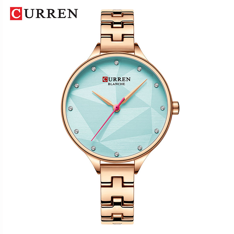CURREN Blue Color Ladies Watch Small Dial Rose Gold Lady Wrist Watch Ultra Thin Steel Women's Wristwatch Bayan Kol Saati Fashion(China)