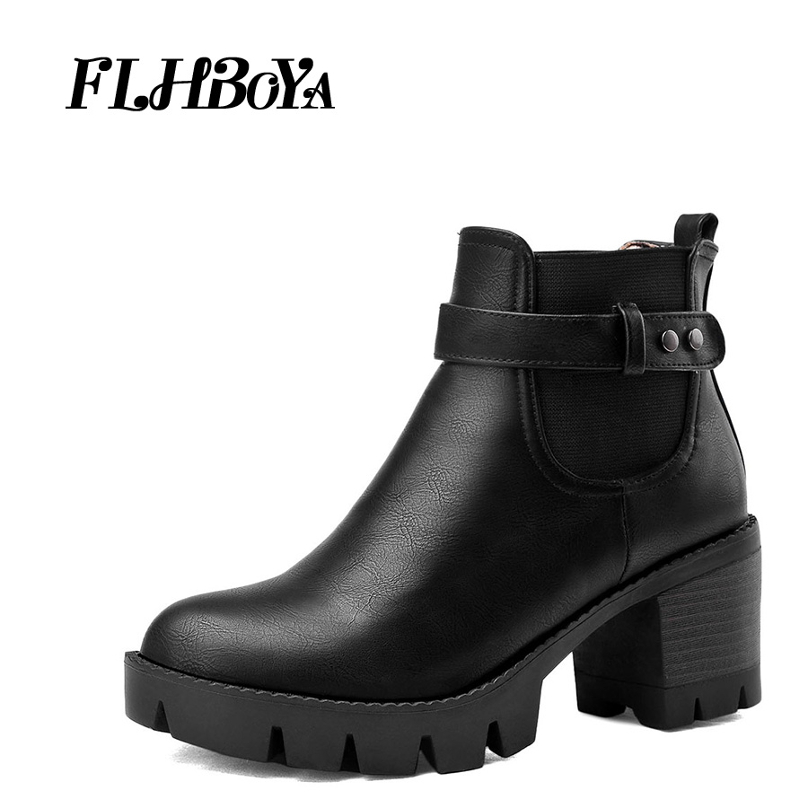 FLHBOYA New Women Winter Block Square heels Platform Ankle Boots For Ladies Female Black Gray Thick High Heel Buckle Short BootsFLHBOYA New Women Winter Block Square heels Platform Ankle Boots For Ladies Female Black Gray Thick High Heel Buckle Short Boots