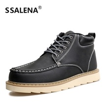 2018 Men Lether Derby Boots Fashion Warm Winter Thick Bottom Non-Slip Men Shoes Lace Up High Top Casual Shoes AA10271