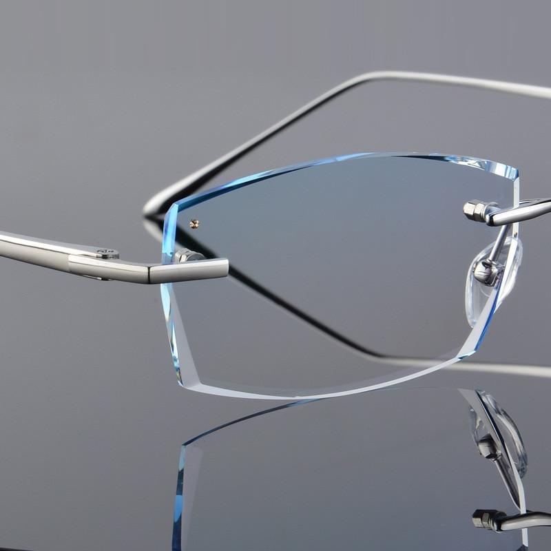 Men Fashion Glasses Titanium Rimless Eyeglasses Frame Diamond Decorations Optical Frame with Prescription Glass NEW oculos 6625