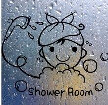 Funny Wall Stickers Bathroom Glass Door Stickers Cute Children Girl Shower Sticker Waterproof Removable Vinyl Decor Decal