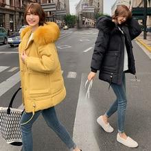 2019 new Parka Women's Long Down Winter Jacket women Casual Fur Collar Hooded Female Jacket Warm Thick Long Coat Women's Coat цены онлайн