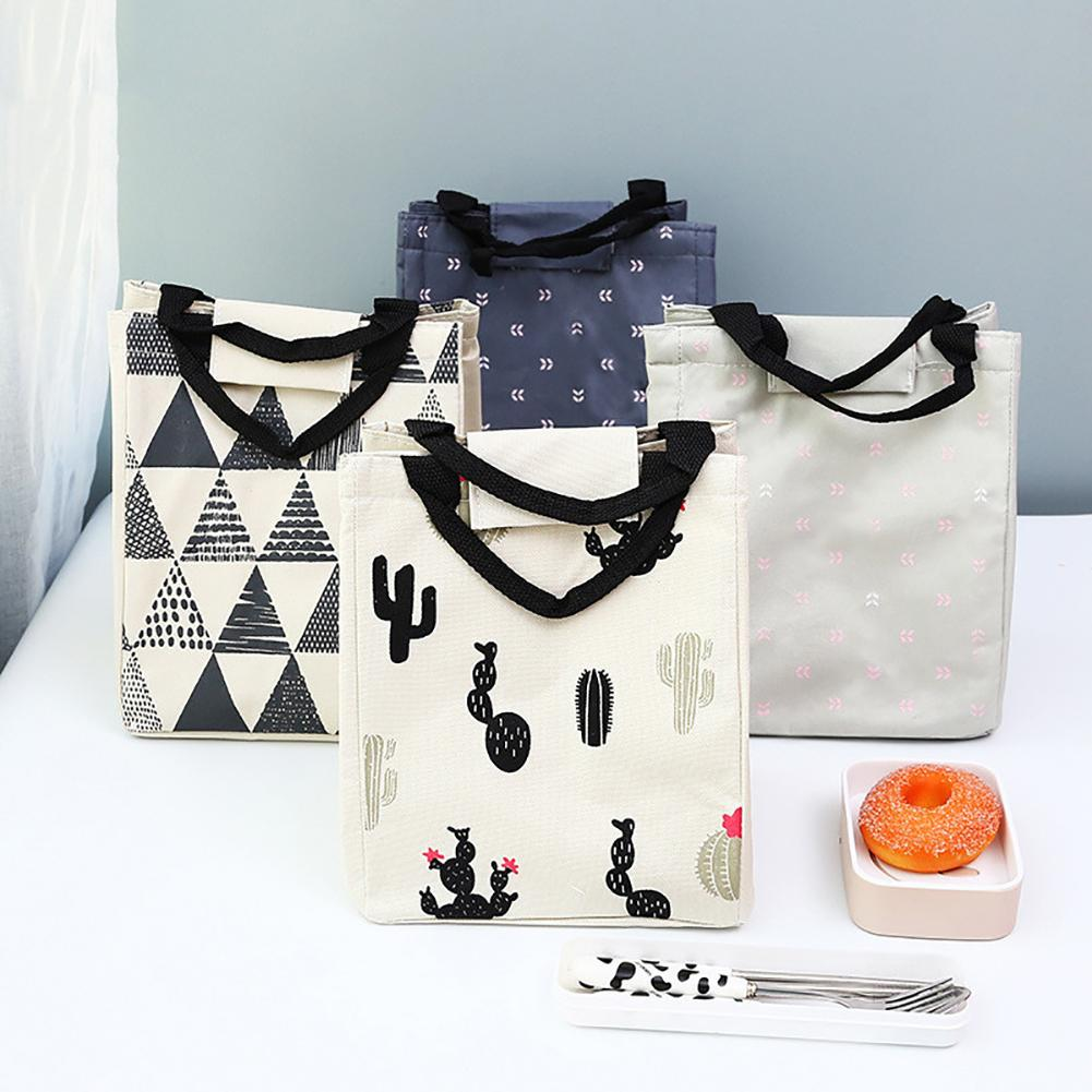 Portable Lunch Bag Thermal Insulated Cotton Linen Food Tote Pouch Bento Lunch Cooler Bag Keep Food Safe Warm For Girls Women