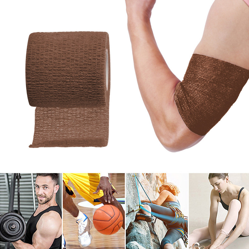 5cm * 4.5m Brown Retractable Self-adhesive Medical Elastic Bandage Sports Fitness Sports Muscle Strain Protection Tape