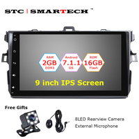 SMARTECH 2 Din Android 7.1.2 OS Car Audio GPS System Head unit For Toyota Corolla 9 inch IPS Screen Quad Core 2GB RAM 16GB ROM