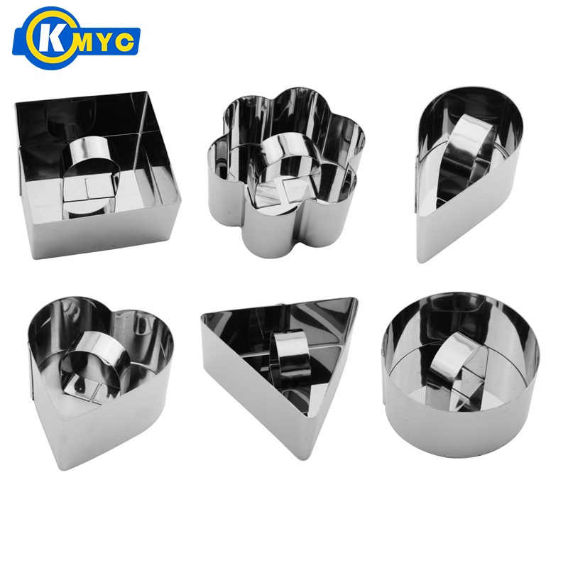 KMYC <font><b>Round</b></font> Heart Square Flower Triangular Water Droplets <font><b>Cheese</b></font> Cake <font><b>Mold</b></font> Baking Stainless Steel Mousse Ring Egg Tool image