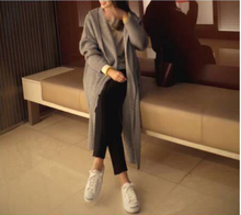 M 2019 long sweater womens cardigan loose coat blouse  Office Lady O-Neck women