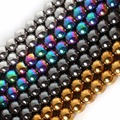Pick 4Colors Natural Stone Black Hematite beads Round Loose bead Stone ball Selectable 4/6/8/10MM For Jewelry bracelet Making