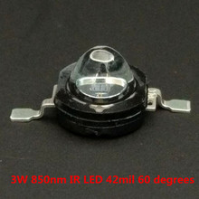 цена на 5PCS/LOT 3W  high power infrared diode infrared led 850nm IR lamp for surveillance CCTV Camera 42mil chip 60 degrees