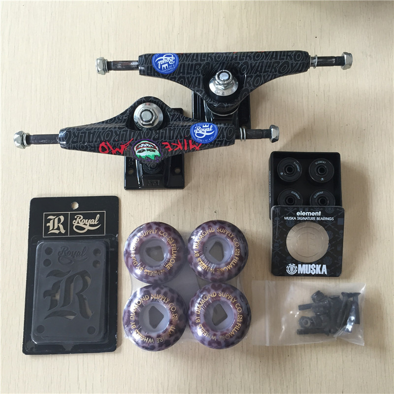 2016 Free Shipping Skateboard Royal Aluminum 5.25 Skate Trucks And Diamond PU Wheels Element ABEC-7 Bearings Skateboarding 2016 free shipping skateboard royal aluminum 5 25 skate trucks and diamond pu wheels element abec 7 bearings skateboarding
