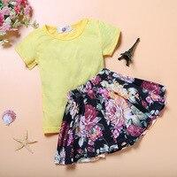 Summer Children Clothing Set Baby Girl's Clothes Sets Flower Print Children kids clothes T Shirt Skirt Tutu The Casual Cute Suit