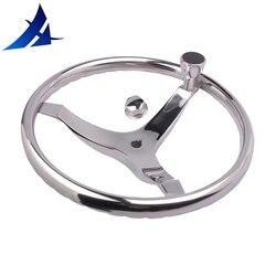 عجلة توجيه فولاذ مصقول مقاوم للصدأ لليخت مركبة بحرية مع التحكم Knob13.5 لرأس كابل Teleflex ، مع صامولة 5/8