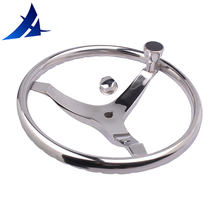 "polished stainless steel steer wheel for marine boat yacht with control Knob13.5""for Teleflex cable helm"