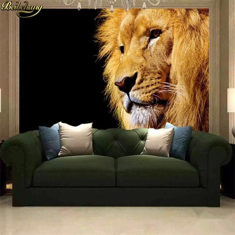 beibehang Custom Photo Wallpaper Mural Wall paper Sticker Lion Lion King Background Wall Fresco 3D papel