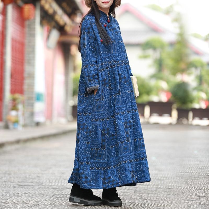 D'hiver Faux Élégant Longues Polaire Robes Printemps Maxi De Femmes À Pull 1902 Lzjn Manches Robe Vêtements Blue Coton Lin Fourrure Tqgfw