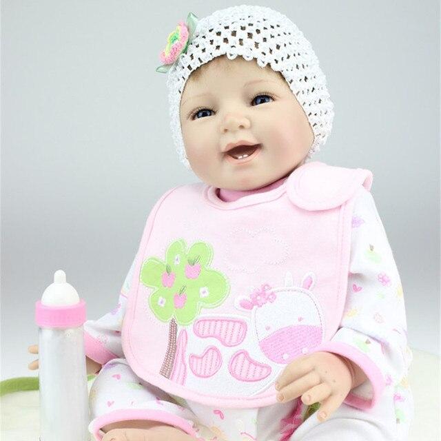 fc1f906718ed0 55 cm Sonrisa Linda Bebé Reborn Muñecas Realistas de Silicona Barata Bebés  Reborn en Venta Bebé