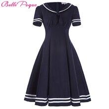 Belle Poque Women Summer Dress 2017 Vintage Dress Short Sleeve Bow Decor Dress Vestidos Sailor Collar Preppy Style Femme Dress