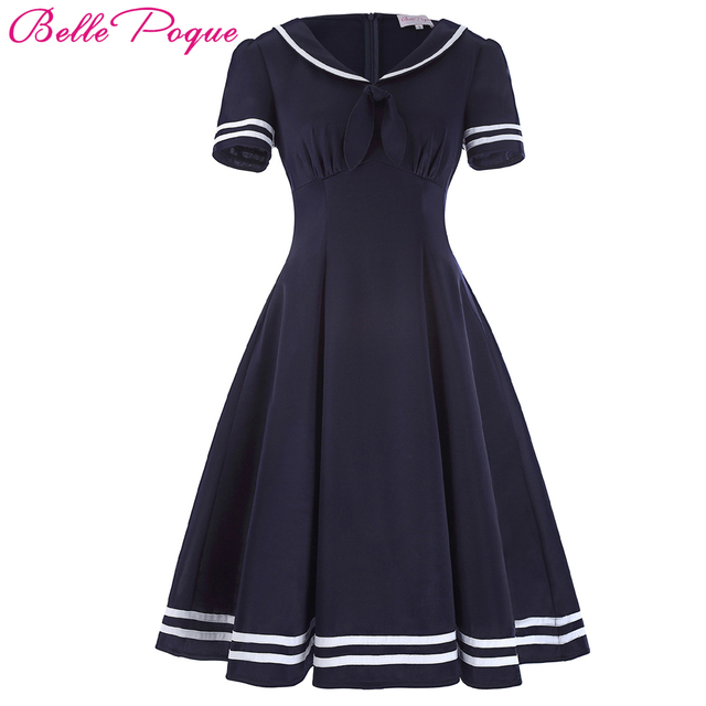 Belle Poque Women Summer Dress 2017 Vintage Dress Short Sleeve Bow Decor  Dress Vestidos Sailor Collar Preppy Style Femme Dress 56bfd095a56c