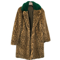 2018 Winter Fake Fur Coat Women Casual Thicken Long Leopard Fur Coats with green fur collar Korean style Warm Faux Fur Jacket