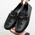 Zapatos ocasionales de los hombres de cuero genuino zapatos mocasines slip on zapatos del barco pisos diseñador de la marca de negocios zapatos de conducción calzado L110702