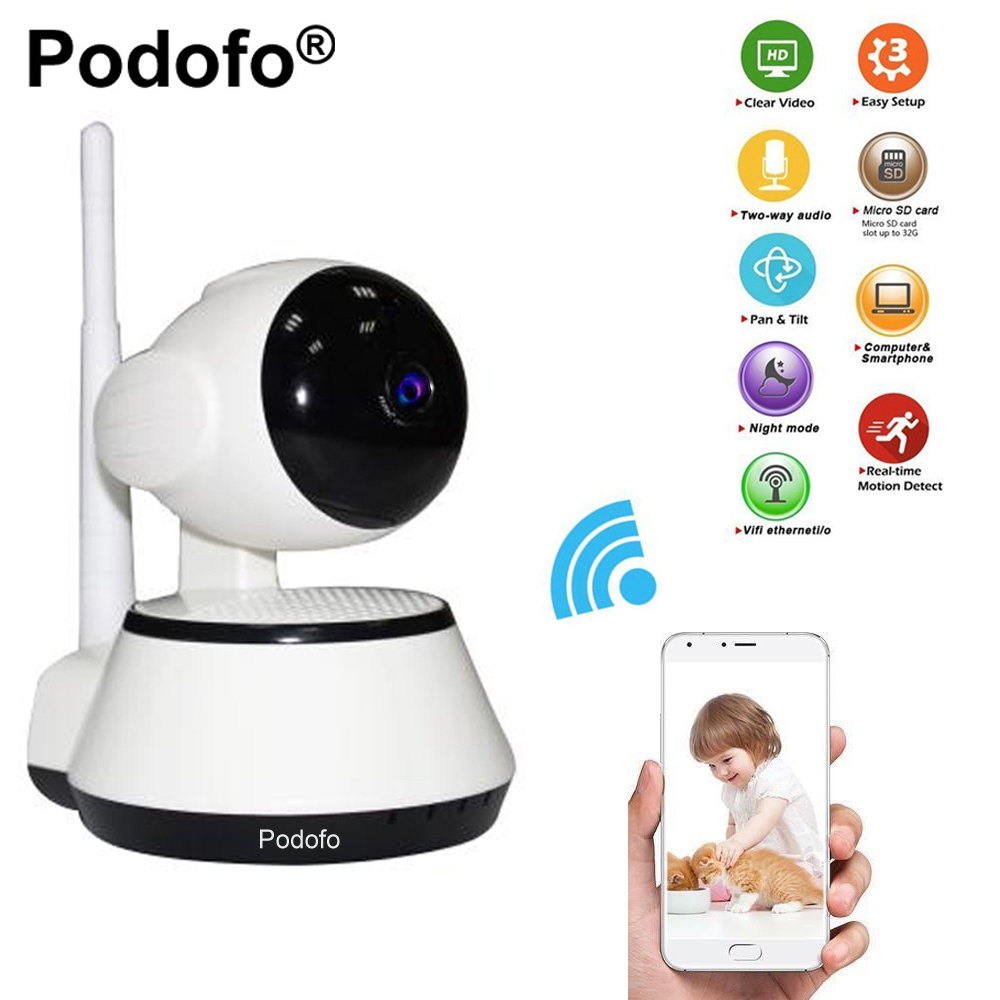 Podofo Home Security Mini IP Camera Wireless WiFi CCTV Surveillance Camera 720P Baby Monitor IR-Cut Night Vision with  APP Alarm baby monitor camera wireless wifi ip camera 720p hd app remote control smart home alarm systems security 1mp webcam yoosee app