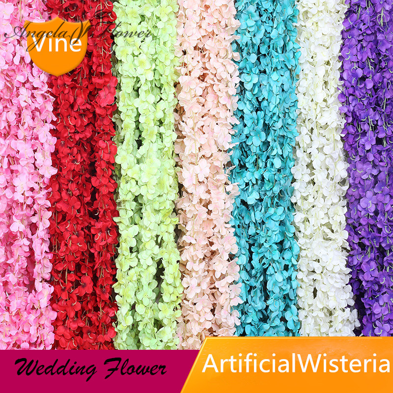Artificial & Dried Flowers Amicable 2m Wedding Artificial Flower Vine Silk Rattan Decoration Wisteria Flower String Hotel Ceiling Party Christmas Background Decor