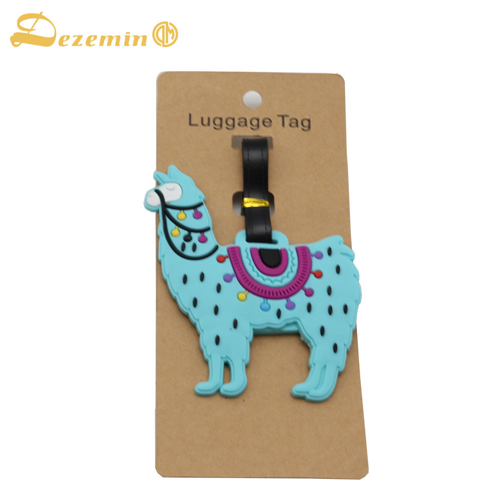 DEZEMIN Alpaca Luggage Tag Silicone Name Tag Holder ...
