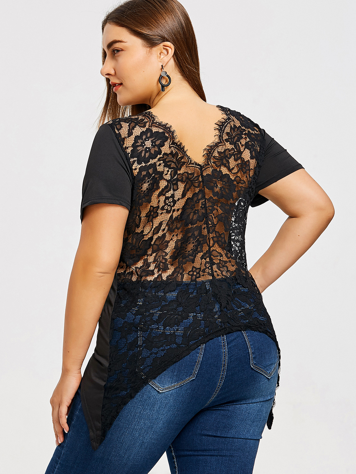 4d185e80edc Gamiss Plus Size Asymmetrical Lace T Shirt Black Sexy T Shirts Women T  Shirts Plus Size Lace Trim Ripped Tunic Ladies Tops-in T-Shirts from Women s  Clothing ...