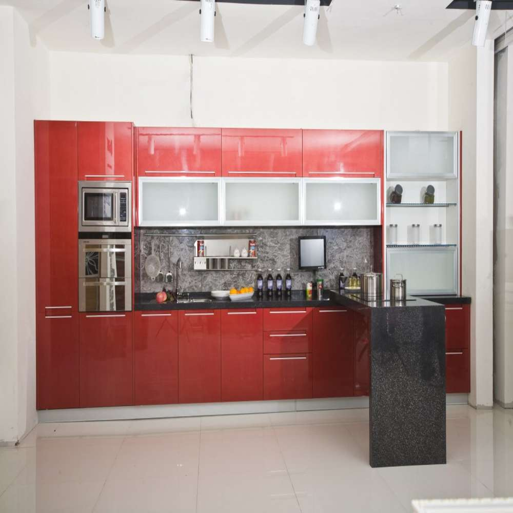 High Gloss Kitchen Island: Modern Elegant Solid Wooden Red High Gloss European Style