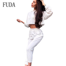 FUDA Women Casual Long Sleeve Hooded Two Pieces Sets Jumpsuits Rompers Ladies Bodycon Streetwear White Sport Playsuits Overalls fuda two pieces sets large size 3xl playsuits women bodycon rompers bodysuits short sleeve printed casual summer overalls