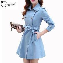 TANGNEST Trench Women Spring Coat Plus Size 2016 Fall Fashion Long Coat British Style Turn-down Collar Belt Coat Casaco WWF375