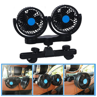 Dual Head 12V Mini Car Seat Clip Cooling Fan Low Noise Strong Wind Car Air Cooler 360 Rotating Adjustable Car Fan Wire Control