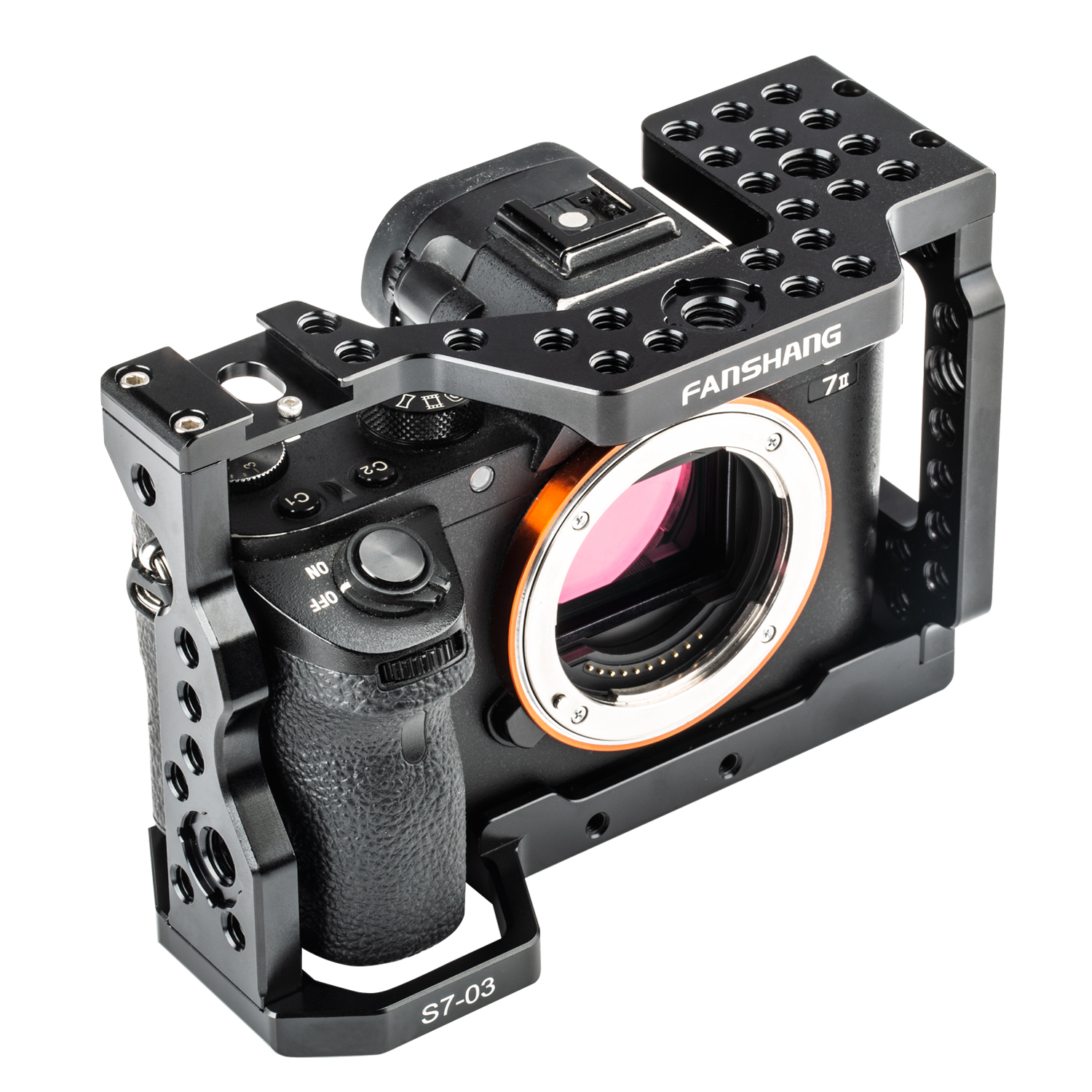FANSHANG Aluminum Camera Cage Video Film Movie Rig Stabilizer For Sony A7RIII/A7III/A7II DSLR W/ Cold Shoe & ARRI Locating Hole