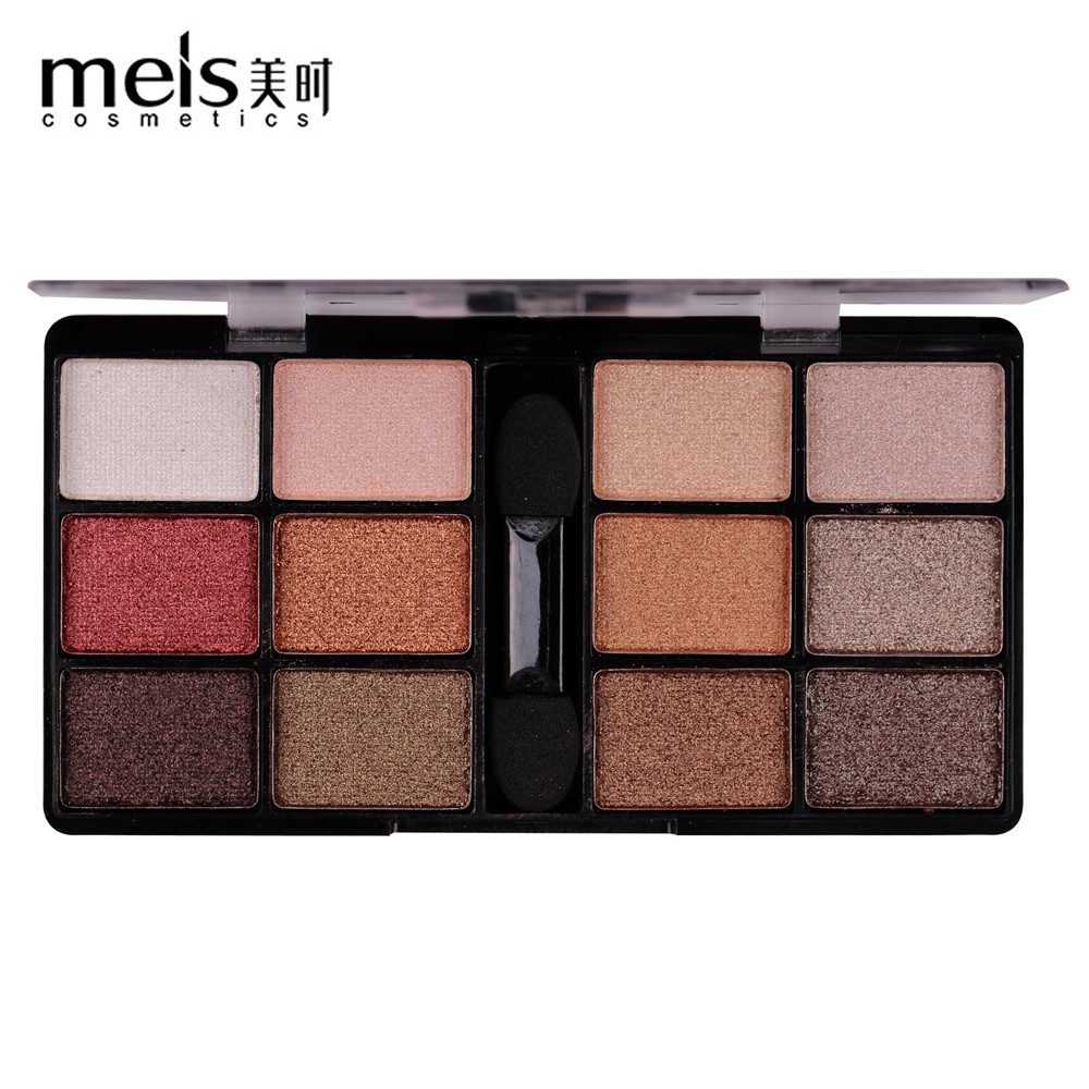 MEIS New Arrival Charming Eyeshadow 12 Color Eye shadow Palette Make up Palette Shimmer Pigmented EyeShadow Powder Fashion Color(China)