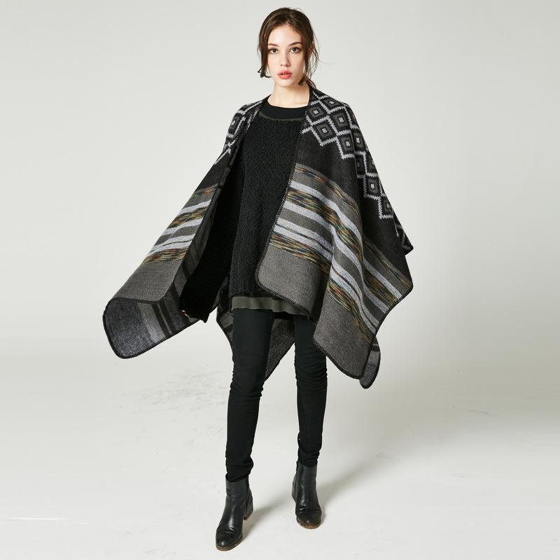XUYIJUN Women scarves Major Suit Diamond Colour Bar Shawl High Archives Woman Two-sided Wear Out Tourism Cloak WISH Best Sellers
