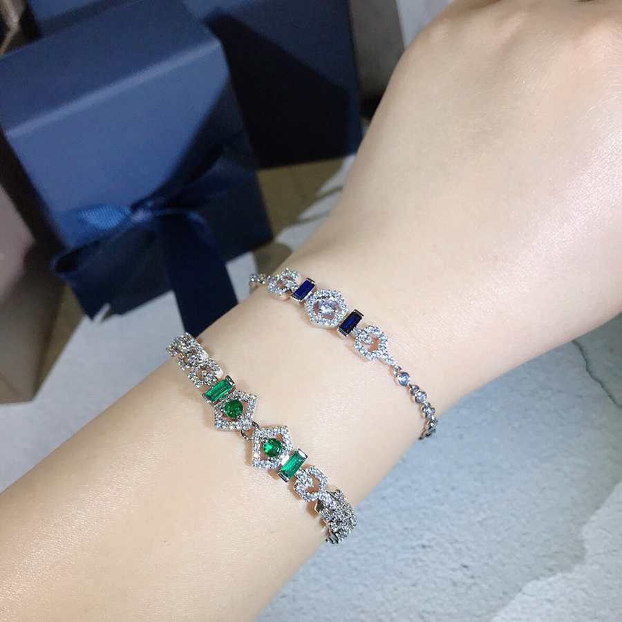2019 Fashion Brand Luxury Real 925 Sterling Silver Jewelry Green Blue Stone Bracelet Bangle For Women Party Wedding Adjustable