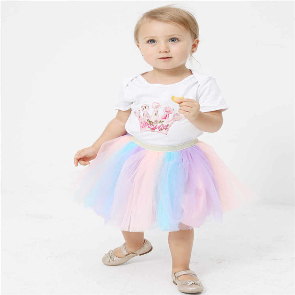 Verano coloridas niñas faldas/saia menina dulce Arco Iris bebé niño tutú niños ropa malla arco danza fiesta niños Pettiskirt