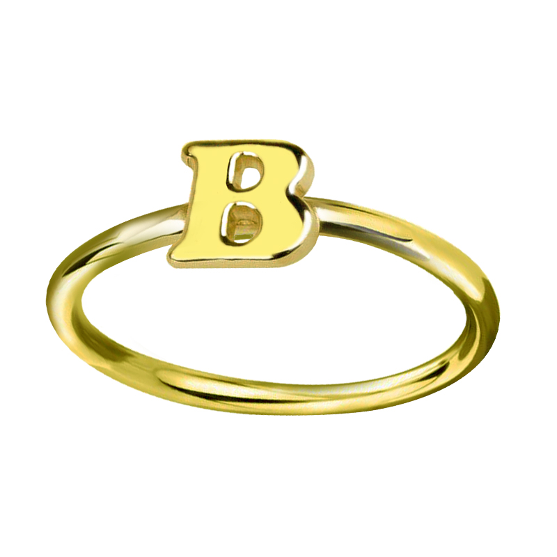 Wholesale personalized initial ring gold color tiny letter for Gold ring models with letters