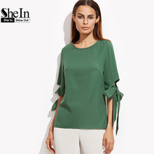 SheIn Women Clothes 2017 Womens Clothing Tops Summer Green Round Neck Half Sleeve Keyhole Back Bow Tie Sleeve Top