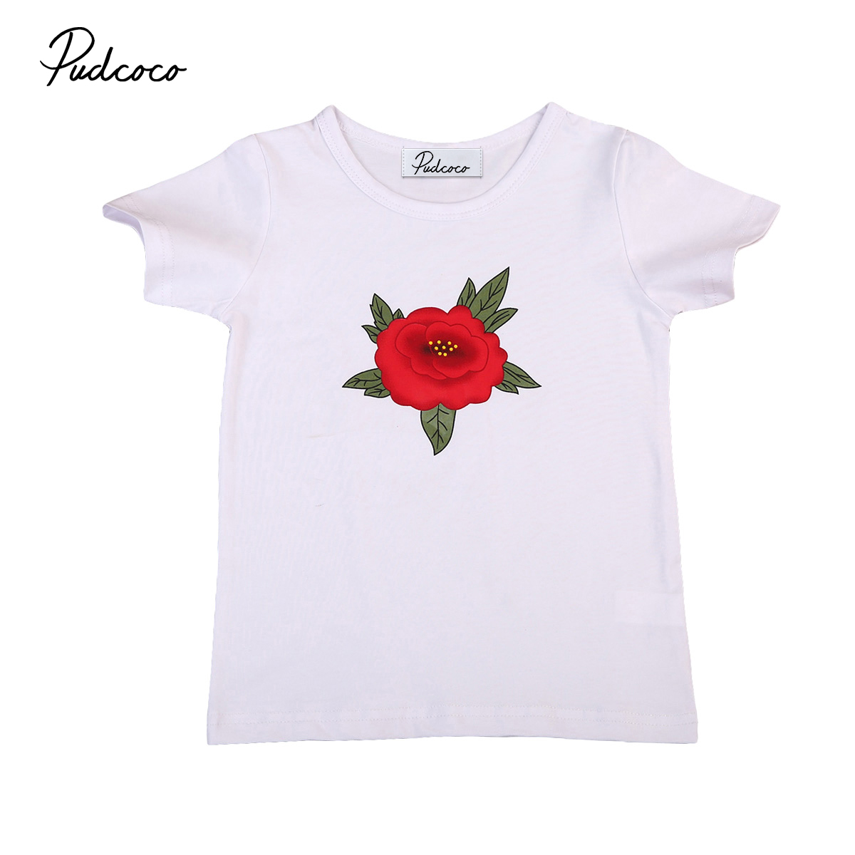 Rose Flower Kids Girls Tee Baby Girl Short Sleeve Casual T-shirt Tops Summer Cotton Children Clothes 1-6Y